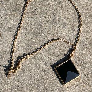Lucky Brand black gold diamond pendant necklace.